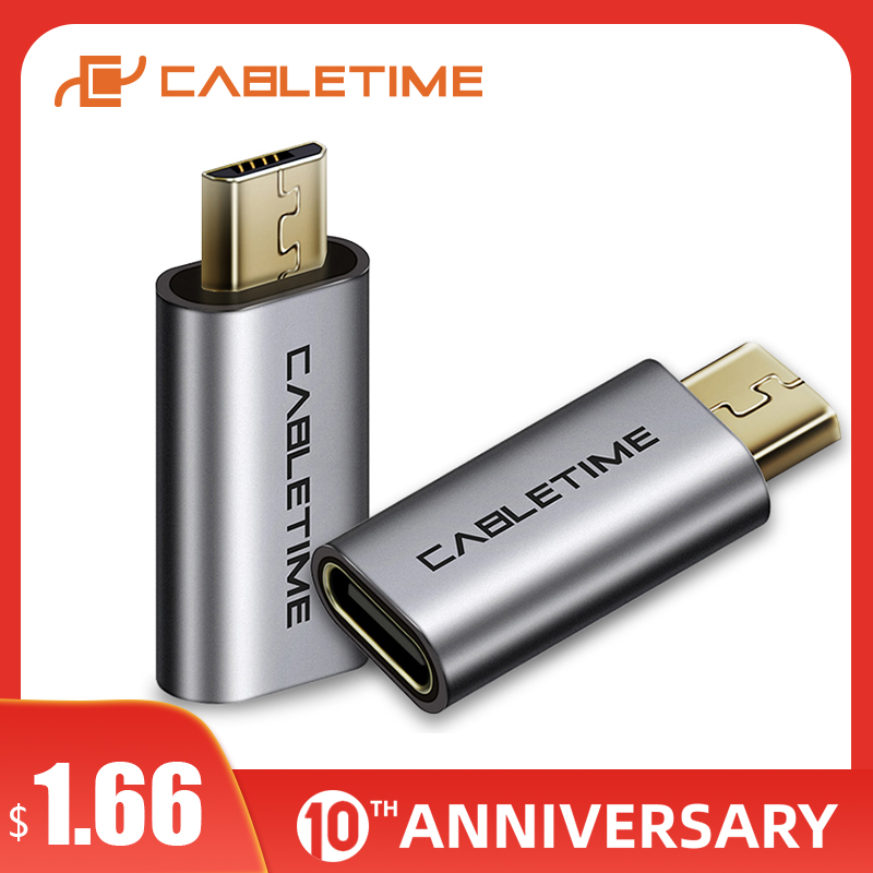 CABLETIME USB C To Micro USB Type C Mobile Phone Adapter Micro Usb Adapter For Xiaomi Samsung Galaxy Huawei USB Type C C006