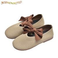 JGSHOWKITO 2020 가을 겨울 신상품 신발 키즈 신발 코튼 원단 보우 매듭 소프트 프린세스 플랫 아동용 플랫 로퍼