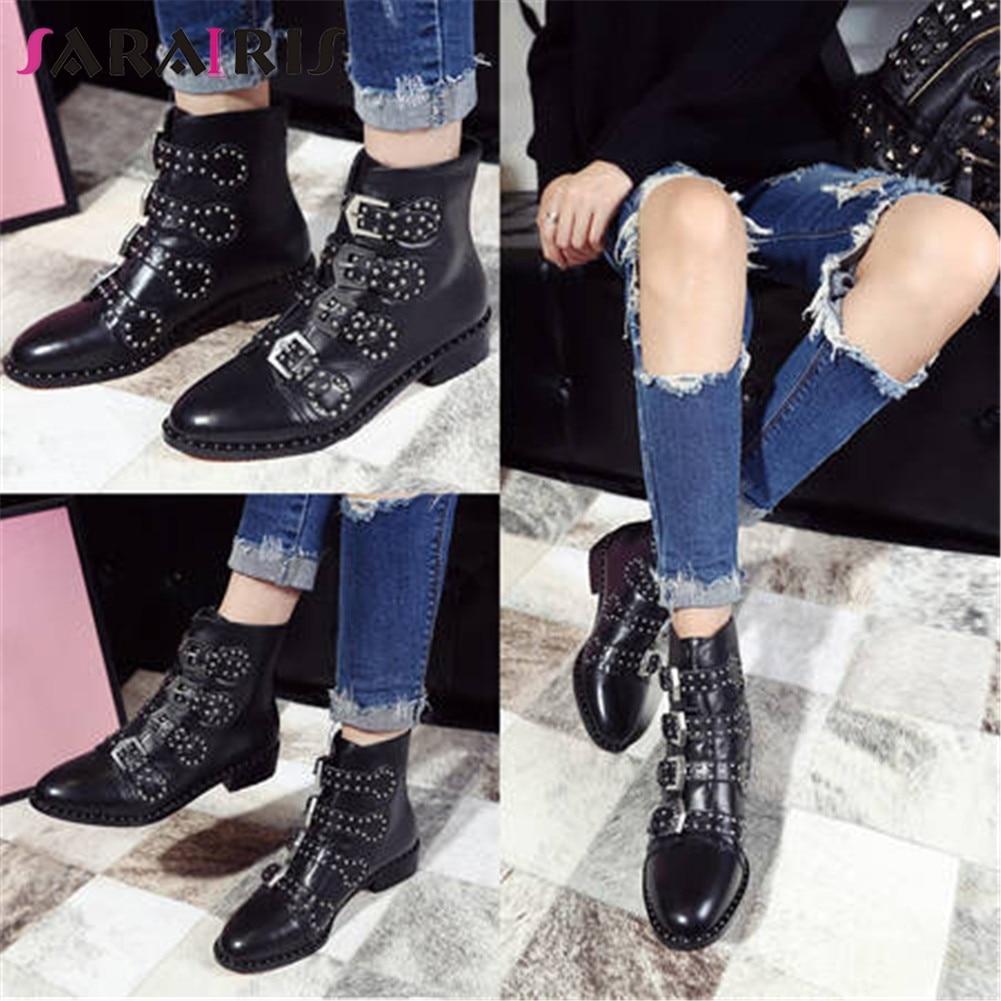 SARAIRIS nouvelle mode grande taille 33-43 en cuir véritable Rivet ceinture boucle dames Chunky talons chaussures décontracté fête bottines