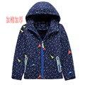 2019 Men's Big Kid Thick Children Waterproof And Breathable plus Velvet Warm Outdoor Waterproof Jacket Zip-up Shirt Hooded Cotto