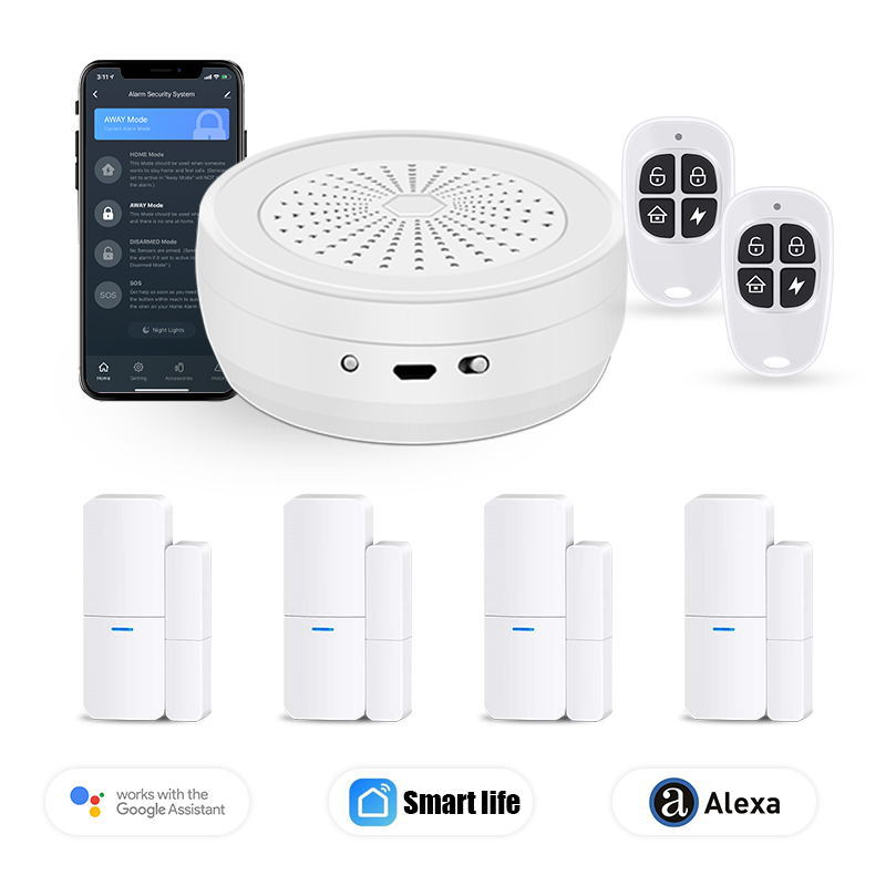 Tuya Wi-Fi беспроводной, оконный, дверной охранной Предупреждение сигнализации Системы Магнитный Сенсор умная домашняя сигнализация комплект ...