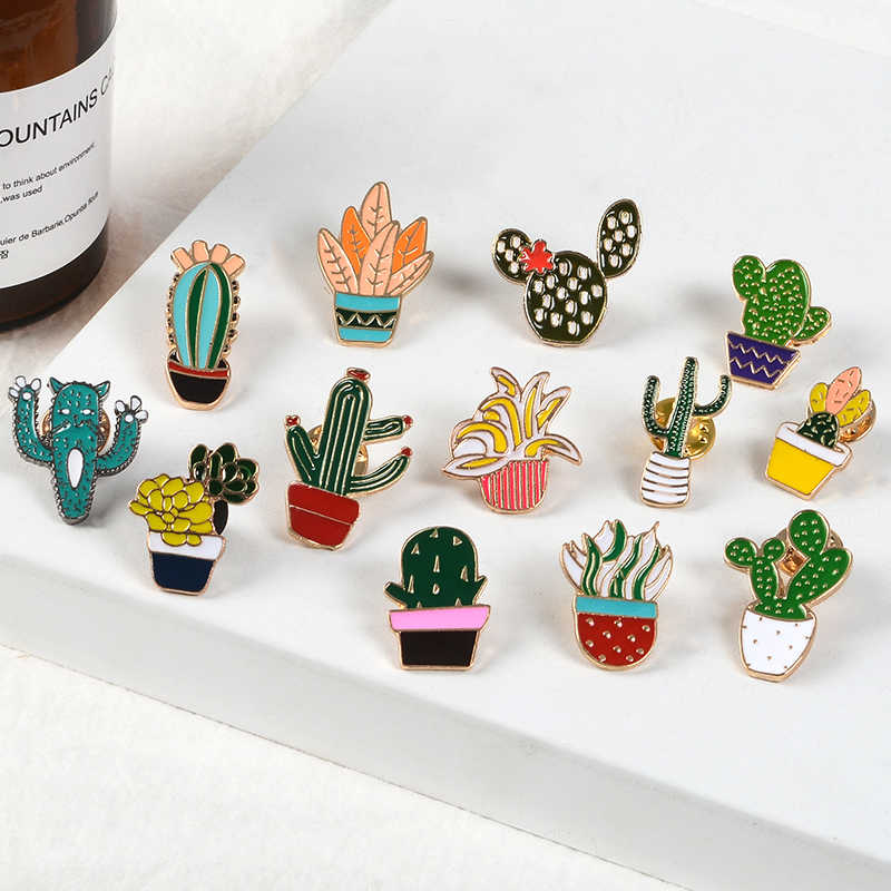 Potted Plants Lapel Metal Pins Various Varieties of Cactus Brooches Badges Backpack Nature Pins Jewelry Gifts For Friends