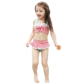 Maluch dzieci dziewczyny pledy i czeki koronkowe Bikini strój kąpielowy górny i dolny strój kąpielowy C01 tanie i dobre opinie Pasuje mniejszy niż zwykle proszę sprawdzić ten sklep jest dobór informacji CN (pochodzenie) Plaid Wysokiej talii Spandex Lycra Lace