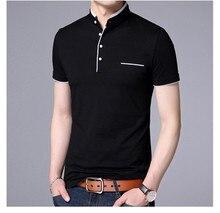 Mandarin Collar Short Sleeve Tee Shirt Men 2019 Spring Summer Tee Tops Men Brand Clothing Casual Fit Cotton T-Shirts Poloshirt casual drawstring mandarin collar t shirt