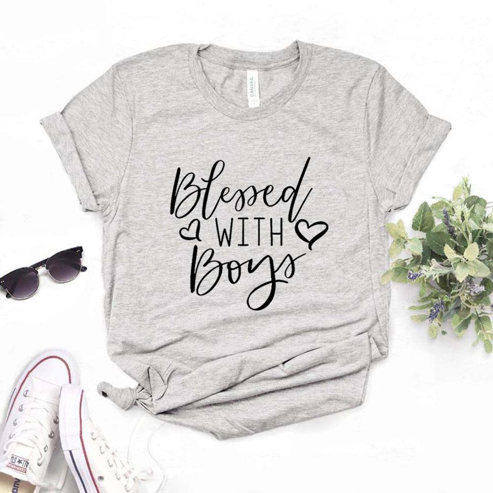 Blessed With Boys mom Print Women Tshirts Cotton Casual Funny t Shirt For Lady  Top Tee Hipster 6 Color NA-750