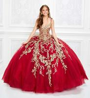 2020 Red Luxury Quinceanera Dresses Plunging Neck Gold Lace Appliqued Ball Gown Girls Pageant Dress Customized Sweet 16 Dresses