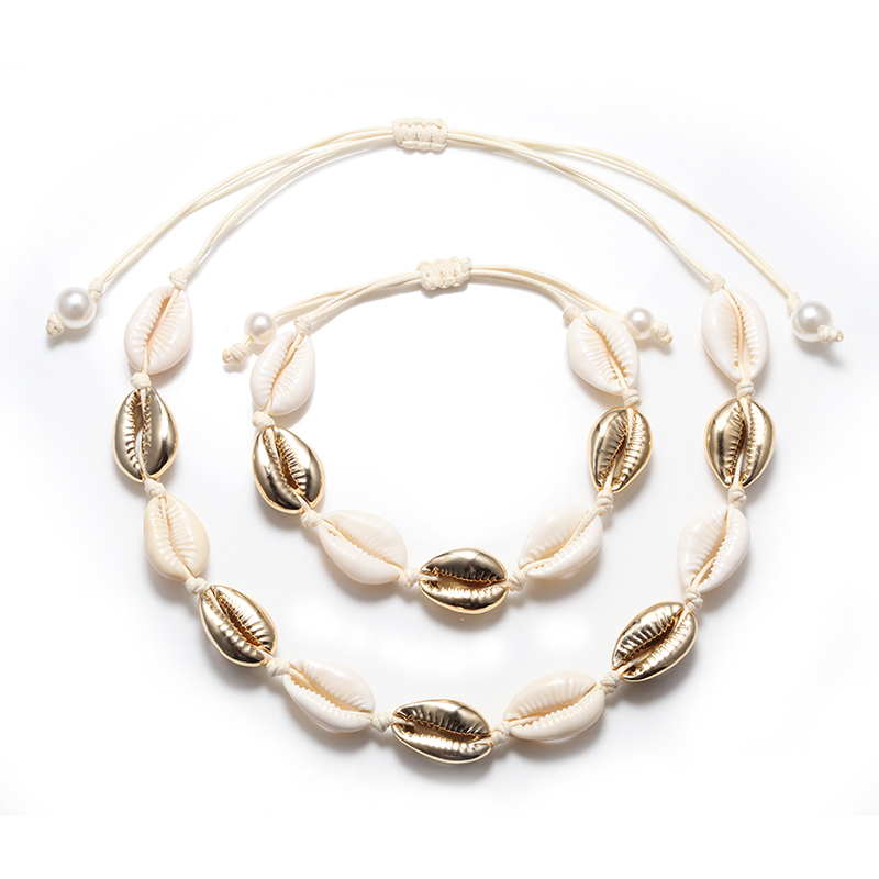 Natural Cowrie Shell Necklace Bracelet Set Boho Beach Seashell Choker Collar Fashion Rope Chain Adjustable Women Summer Jewelry