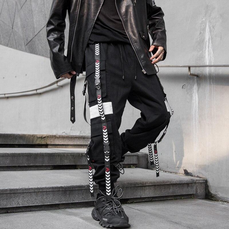 Hommes Streetwear Hip Hop Punk gothique Harem pantalon rubans boucle épissure lâche décontracté noir Cargo pantalon mâle joggeurs pantalons de survêtement