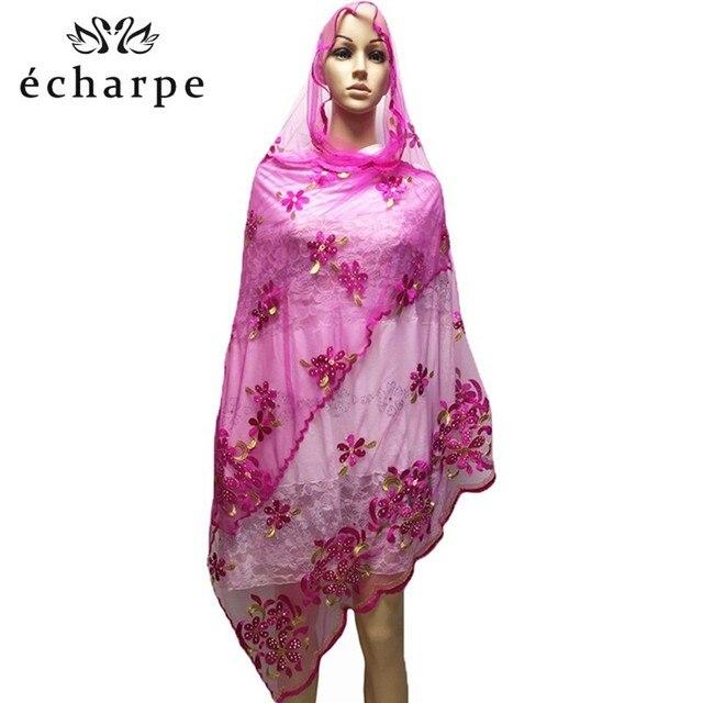 المرأة الأفريقية وشاح مسلم التطريز صافي وشاح الحجاب وشاح متوسطة الحجم وشاح للشالات