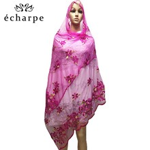 African women scarf muslim embroidery net scarf hijab scarf Middle size scarf for shawls