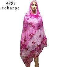 Bufanda mujeres africanas bordado musulmán bufanda de red hijab bufanda de tamaño medio para chales