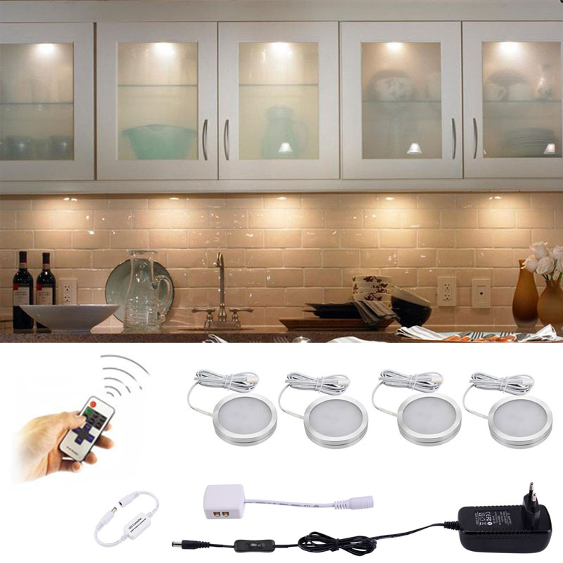 AIBOO LED Under Cabinet Light kitchen Puck Under Counter lights with Wireless RF Remote Dimmable for Shelf Furniture Lighting-in Under Cabinet Lights from Lights & Lighting