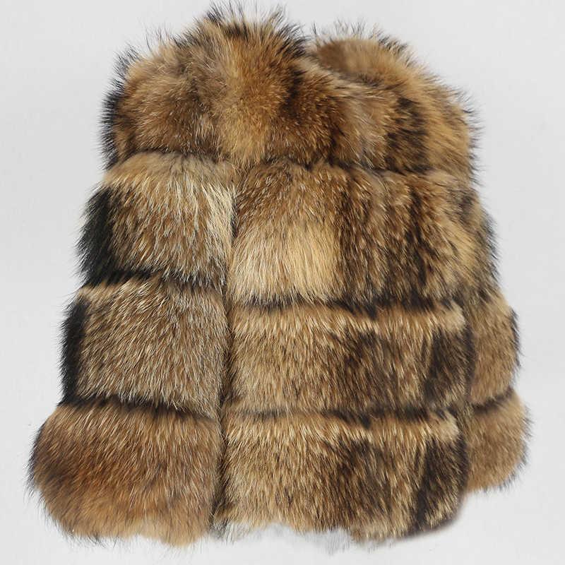 OFTBUY 2020 yeni kış ceket kadınlar büyük kabarık gerçek kürk ceket doğal rakun kürk kalın sıcak giyim Streetwear çıkarılabilir yelek