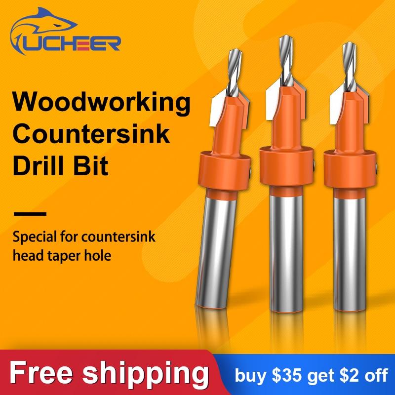 UCHEER 1set 8mm Shank HSS  Woodworking Countersink Drill Bit Set Screw Cutter Wood Tools  Alloy Salad drills