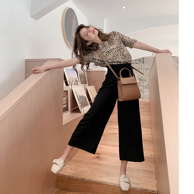 Customizable  Korean-style Summer Slim Fit High-waist Ankle-length Casual Pants Skirt Pants + Short-sleeved Round Collar T-s