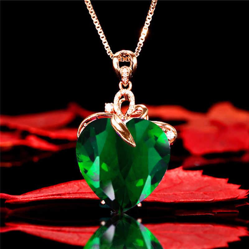 Độc Đáo Ngày Valentine Lớn Trái Tim Hoa Hồng Vàng Dây Chuyền Xương Đòn Dây Chuyền Nữ Cưới Xanh Đính Đá Zircon Đính Hôn Choker