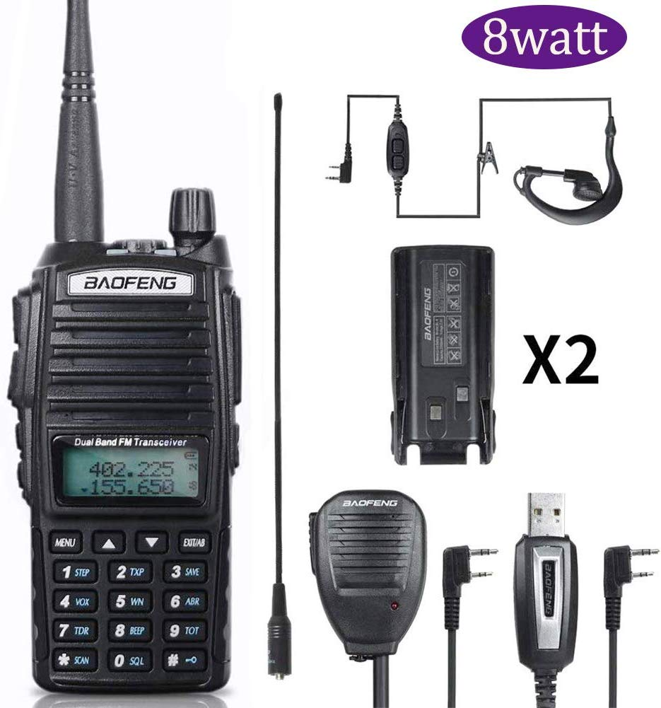 BaoFeng Walkie Talkie UV-82 Ham Dual-Band 136-174/400-520 MHz FM 8 Watts 2800mAh Battery Waterproof Two Way Radio,Transceiver