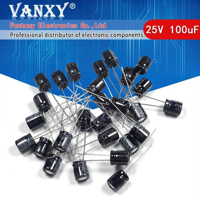 50PCS Higt quality 25V100UF 6*7mm 100UF 6.3*7 25V Electrolytic capacitor