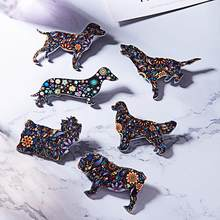 1pc acrílico animal broche bulldog golden retriever beagles labrador dachshund yorkie cão broches bonito animal jóias melhor presente(China)