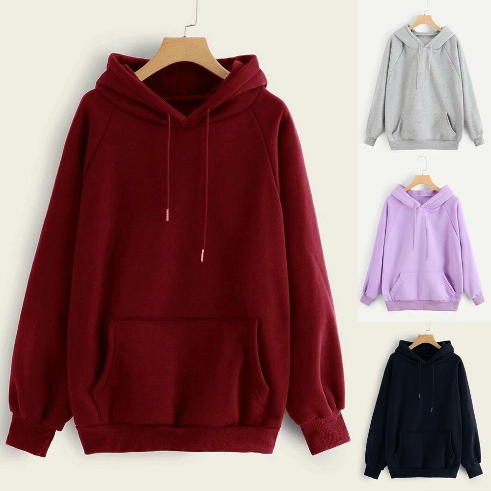 2020 New Women's Sweatshirt Autumn Winter Daily Casual Solid Color Hooded Pocket Long Sleeve Pullover Sweatshirts