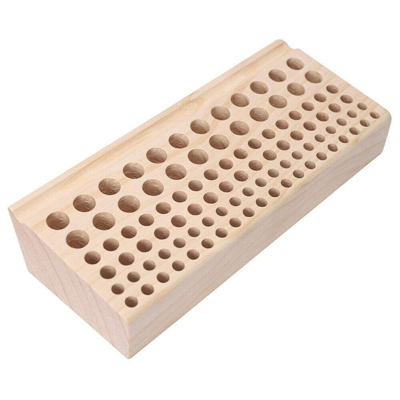 Leather Puncher Holder, 98 Holes Wooden Leather Craft Tools Holder Organizer Leather Stamping Punching Tool