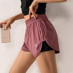 Vrouwen Sneldrogend Tennies Double Layer Sport Korte Outdoor Fitness Shorts Met Packet Yoga Fitness Anti-Glare Shorts