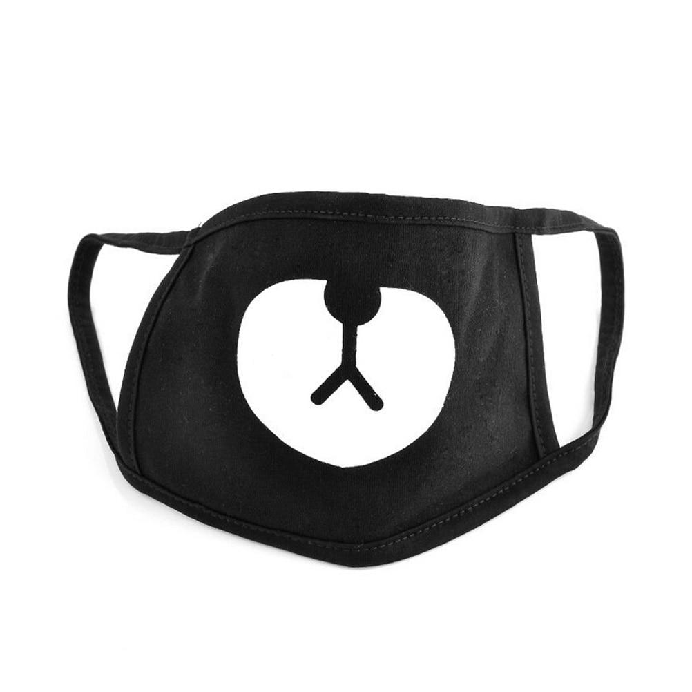 2PCS Black Cute Korean Unisex Bear Cotton Mouth Face Mask Respirator For Cycling Anti-Dust
