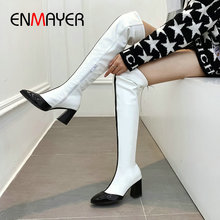 ENMAYER 2019 Women Boots Basic Pointed Toe Patent Leather Over The Knee Hoof Heels Short Plush Winter Shoes 34-43