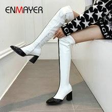 купить ENMAYER 2019 Women Boots Basic Pointed Toe Patent Leather Over The Knee Boots Hoof Heels Short Plush Women Winter Shoes 34-43 дешево