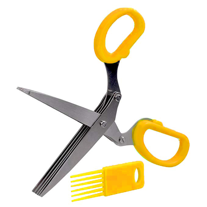 19 см фарш 5 слоев Basil Rosemary кухонные ножницы измельченный нарезанный скальон резак травы Laver специи повара инструмент резки - Цвет: Цвет: желтый