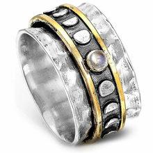 Modyle novo retro feminino anéis sol & lua padrão vintage festa menina personalidade dedo anel metálico uso diário versátil jóias