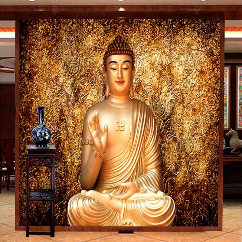 Custom Photo Wallpaper Custom 3D Stereo Buddha Wallpaper Sitting Room Hotel Background Wallpaper Mural