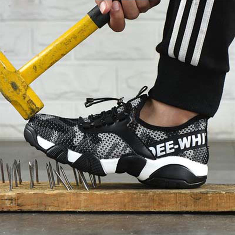 2019New Men Steel Toe Work Safety Shoes Lightweight Breathable Reflective Casual Sneaker Prevent Piercing Women Protective Boots