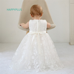 Image 3 - HAPPYPLUS Maxi Vintage Christening Dress for Baby Girl Lace Baby Half Birthday Girl 2 Years Baptismal Set Infant Dress Gowns