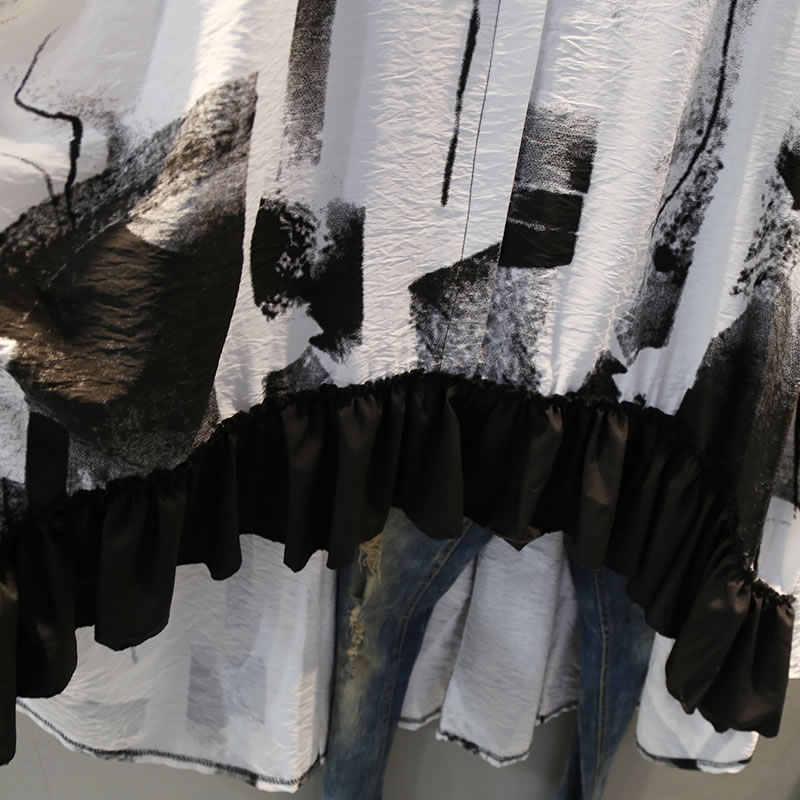 XITAO-pull à manches courtes pour femmes, imprimé irrégulier, longue, col rond, printemps été 2019, LYH3419