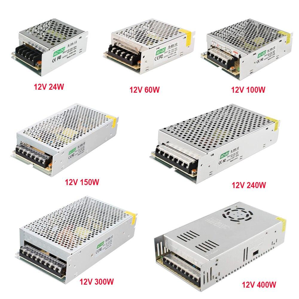 Светодиодный источник питания 12 В, 5 В, 24 В, трансформатор светильник, блок питания 60 Вт, 100 Вт, 200 Вт, 300 Вт, импульсный адаптер драйвера для прое...