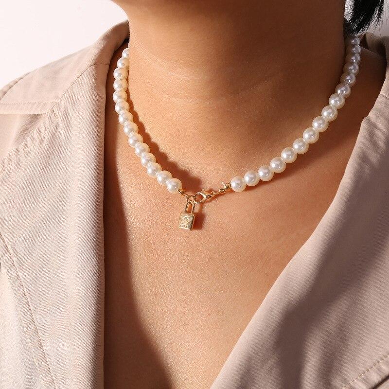 Женское простое ожерелье с жемчугом и бусинами, подвеска с замком, золотая цепочка на шею, модные вечерние ювелирные изделия, аксессуары для свадьбы|Ожерелья с подвеской|   | АлиЭкспресс