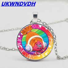 3 color magic elf troll convex round egg crystal pendant necklace kid dress up toy new cartoon gift jewelry 6 map optional