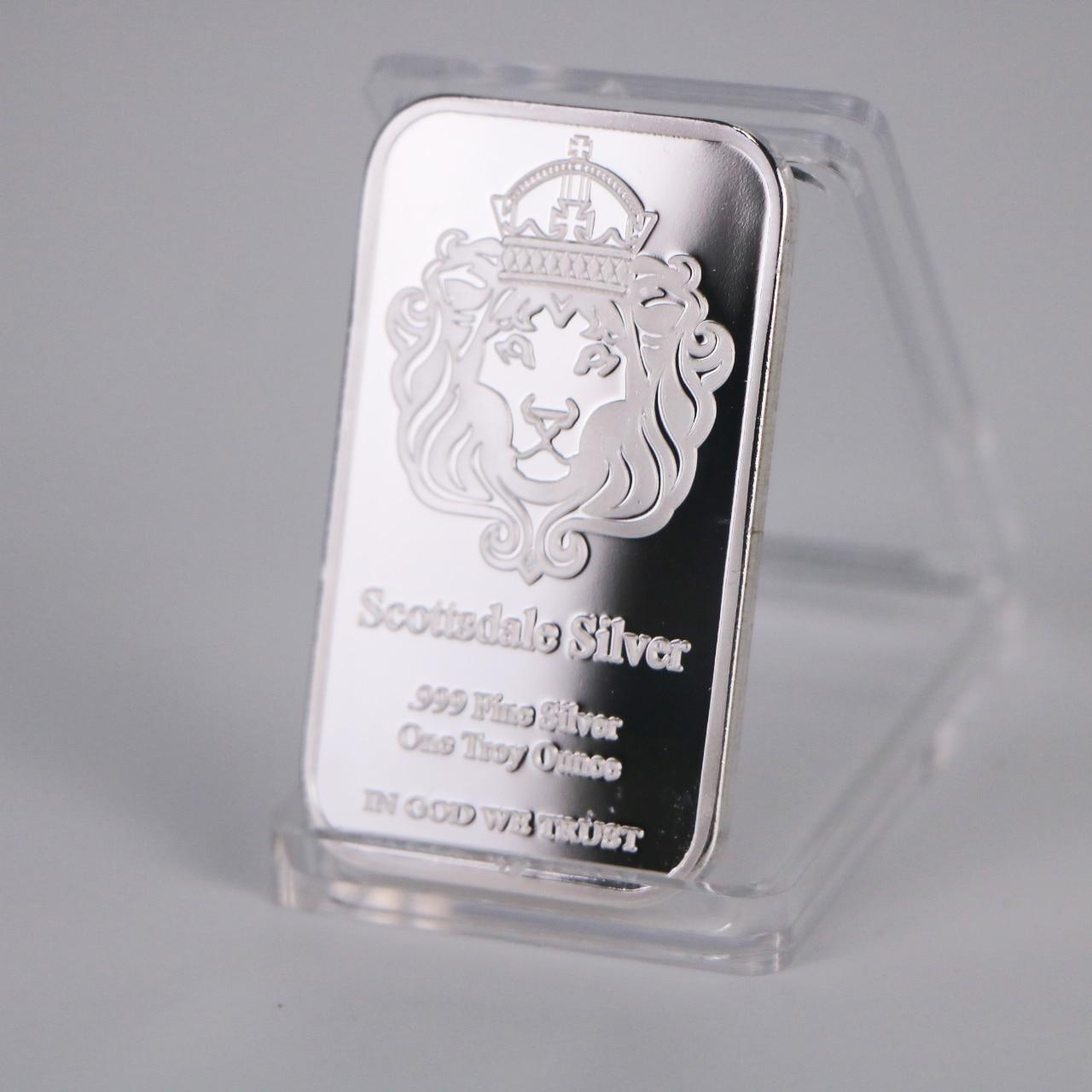Um troy onça scottsdale prata 999 barra de prata fina bullion em deus confiamos moeda com exibição caso