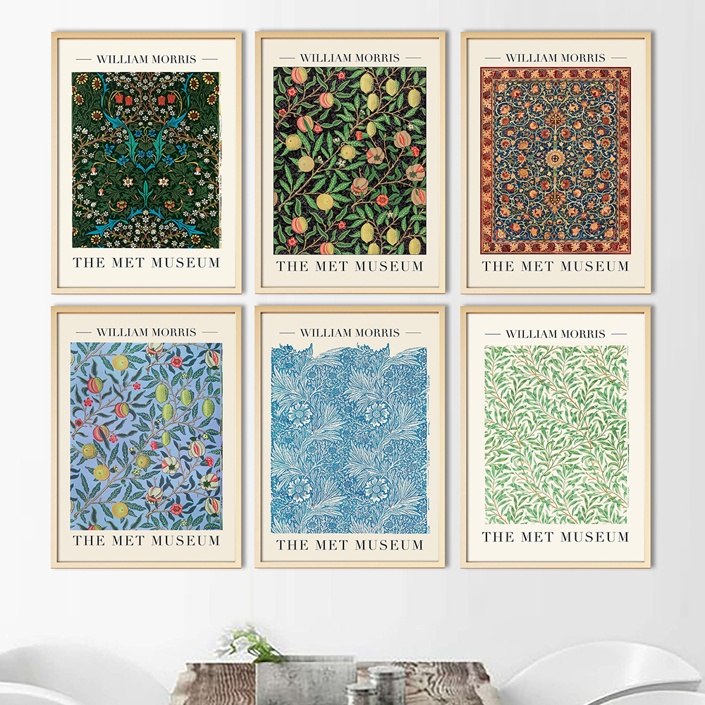 William Morris Canvas Print The Tulip and Blue Marigold Exhibition Poster London Underground Art Nouveau Painting Wall Decor
