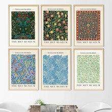 Affiche sur toile imprimée de William Morris, la tulipe et le Marigold bleu, affiche d'exposition, décor mural de peinture artistique souterraine de londres