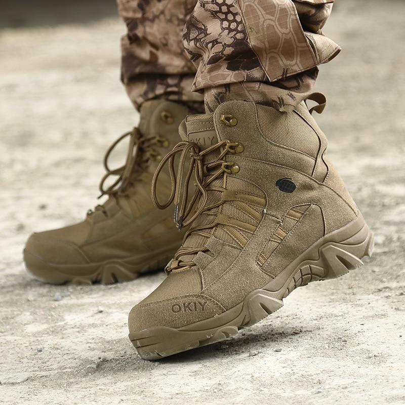 Botas Militares De Combate Táctico De Cuero Genuino Para Hombre, Botas De Trabajo De Caza, Zapatos Informales, 2021