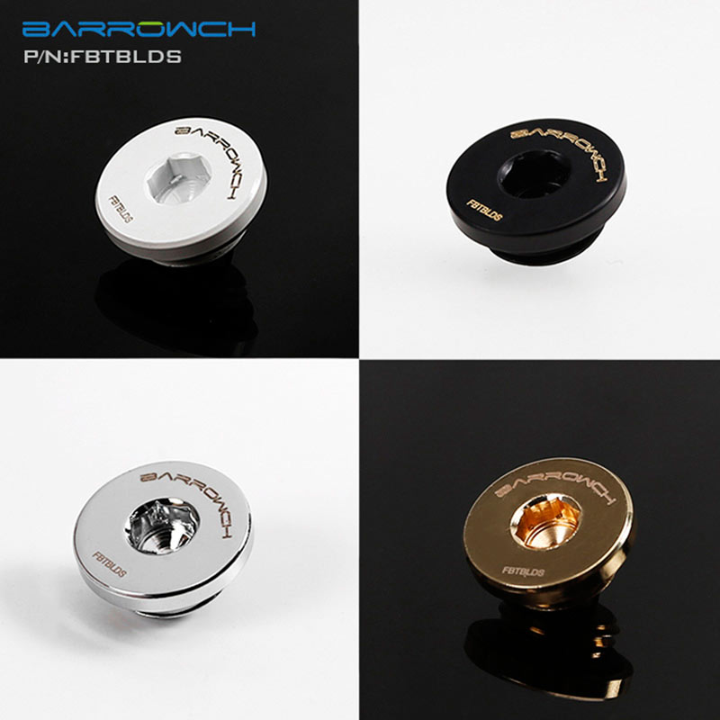 Barrowch FBTBLDS, Inner Hexagonal Plug, G1/4'' Ultra-thin Plugs, Water Stop Fitting, Black/Silver/Gold/White Plugs