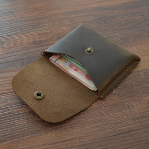 Кошелек для монет из натуральной кожи, Женский кошелек ручной работы, винтажный кошелек из кожи Crazy Horse, мини кошелек для монет