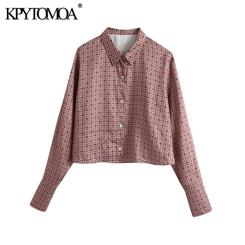 KPYTOMOA-Blusa holgada recortado con manga larga para verano, camisa con estampado Vintage para mujer, con botones, 2020