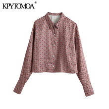KPYTOMOA Women 2020 Fashion Printed Loose Cropped Blouses Vintage Long Sleeve Button-up Female Shirts Blusas Chic Tops