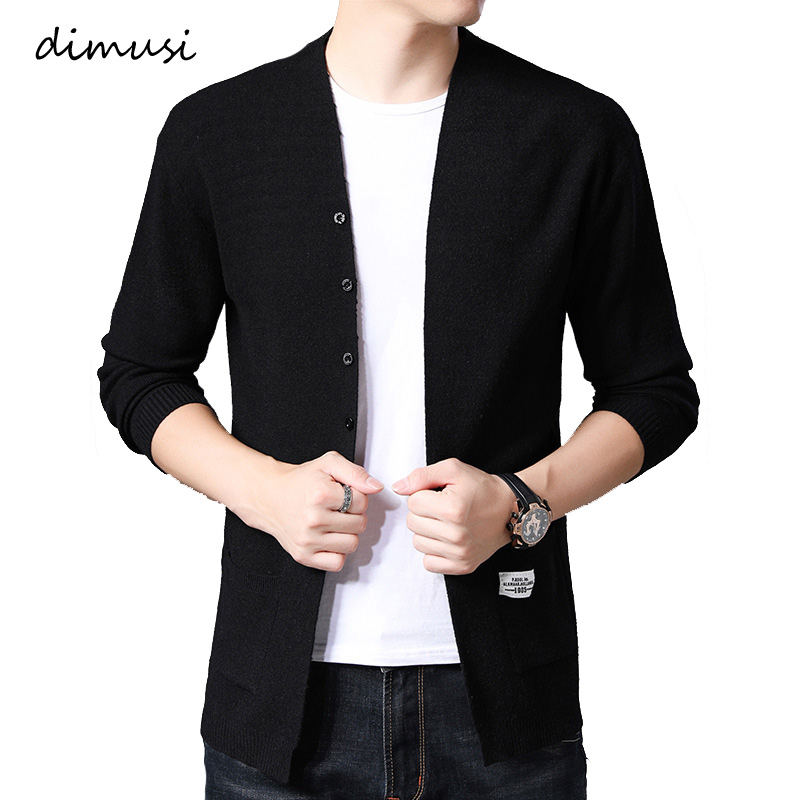 DIMUSI Autumn Winter Mens Autumn Winter Mens Solid Color Knitted Mid-Long Cardigans Casual Mens Slim Knitted Pullovers Jackets