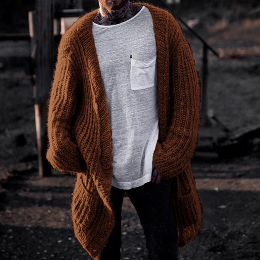 Pockets Men Autumn Winter Knitted Sweater Coat Long Sweater Cardigan Open Stitch Sweater Jacket Oversized Tricot Ribbed Cardigan