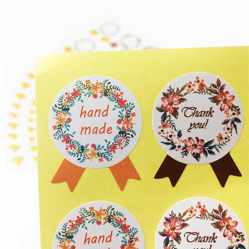 120 Pcs/lot Handmade 'Thank you' Garland Medal Stickers Kraft Label Sticker DIY Hand Made For Gift Cake Baking Sealing Sticker