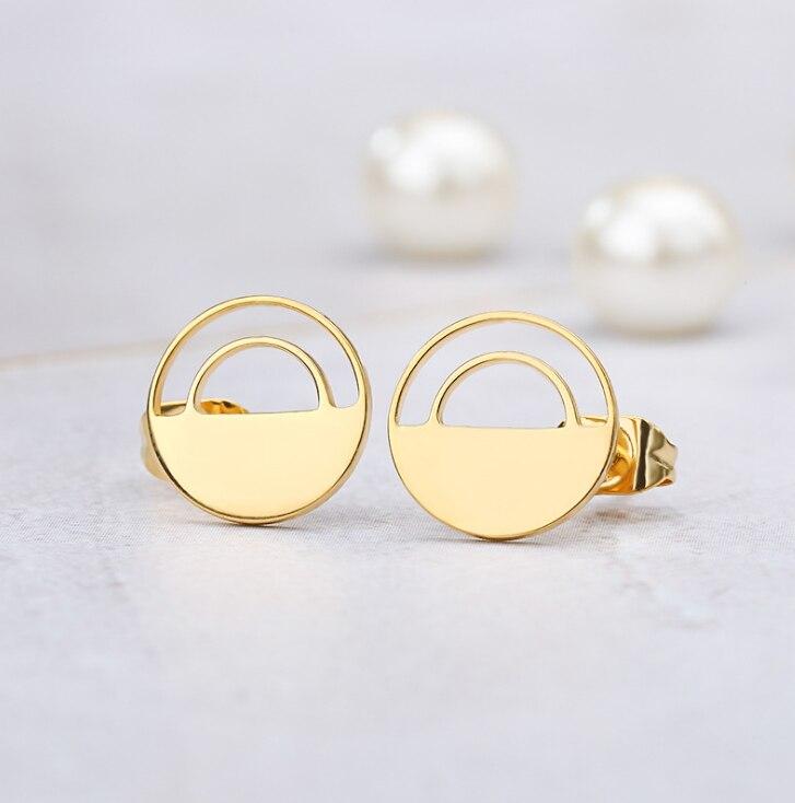 Okrągłe Hollow Design kolczyki ćwieki eleganckie moda kobiety biżuteria dziewczyna prezenty ładne C001S